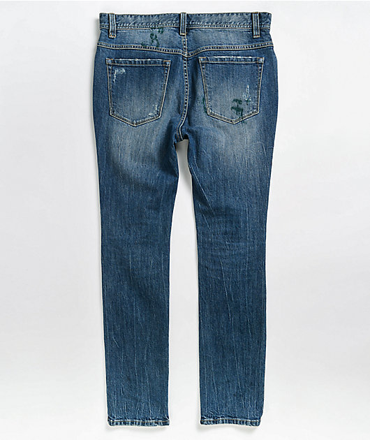 Ninth Hall Lure Drop Distressed Blue Wash Skinny Jeans