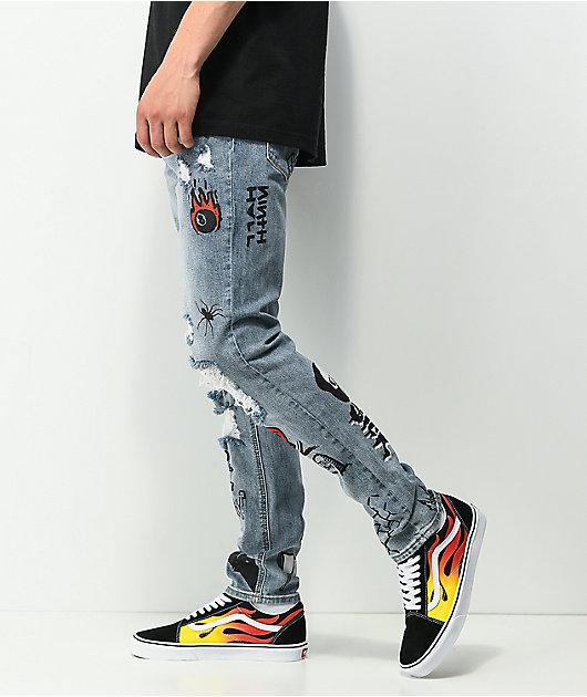 Ninth Hall Lure Printed Light Blue Denim Skinny Jeans