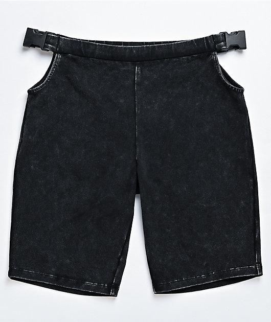 Ninth Hall Martie Black Washed Buckle Bike Shorts