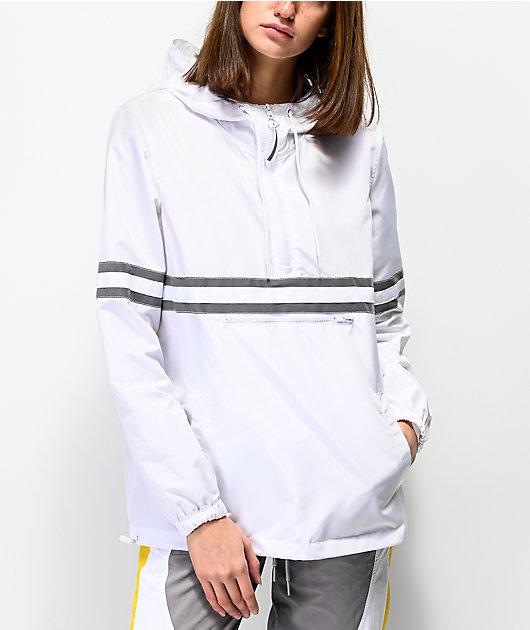 Ninth Hall Milas White & Reflective Striped Anorak Jacket
