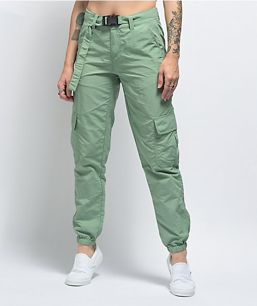 Ninth Hall Raines Buckle Belt Green Cargo Pants