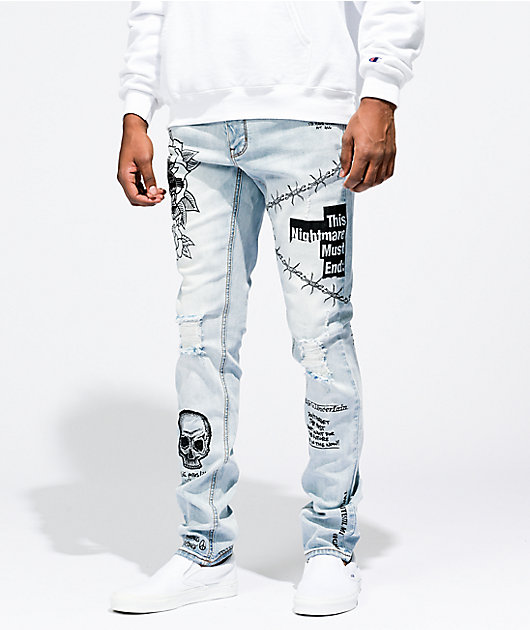 Ninth Hall Rogue Printed Light Aged Skinny Jeans