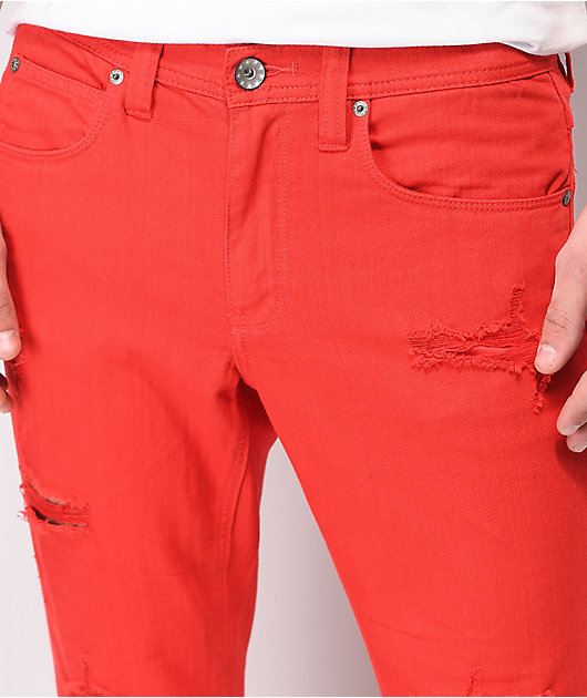 Ninth Hall Rogue Slashed Red Denim Skinny Jeans