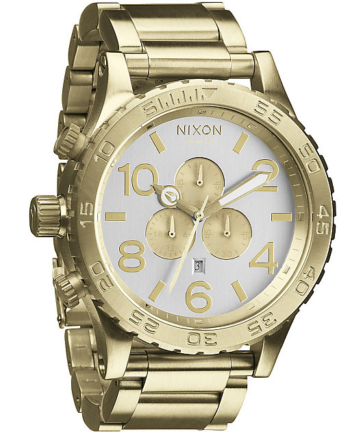 Nixon 51-30 Champagne Gold & Silver Chronograph Watch