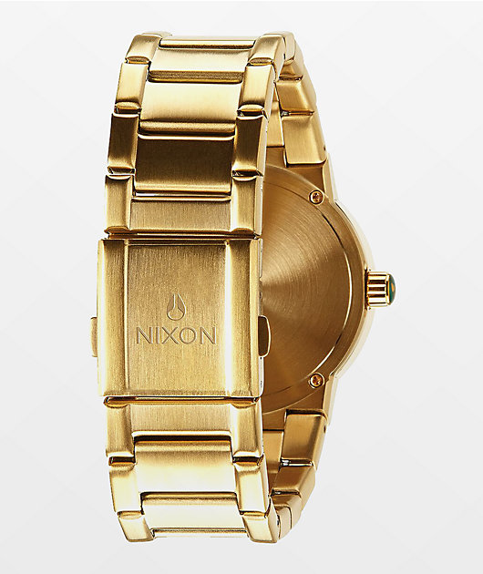 Nixon Cannon Gold & Green Sunray Analog Watch