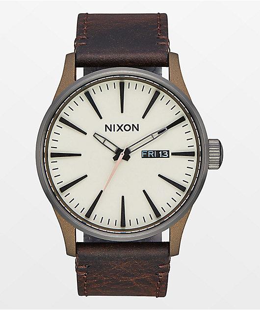 Nixon Sentry 42 Leather Bronze & Gunmetal Watch