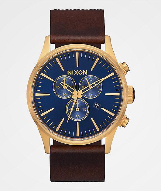 Nixon Sentry Chrono Leather Navy, Brown & Black Gator Analog Watch