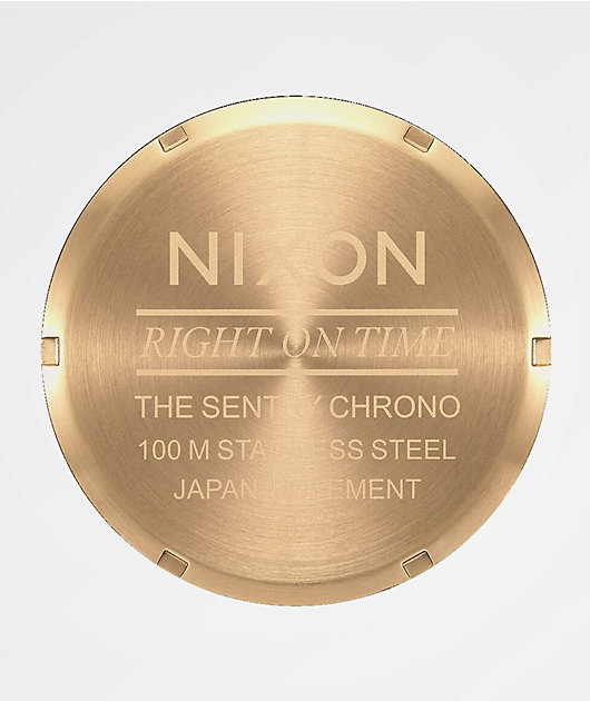 Nixon Sentry Chrono reloj analógico de cuero azul marino, marrón y caimán negro
