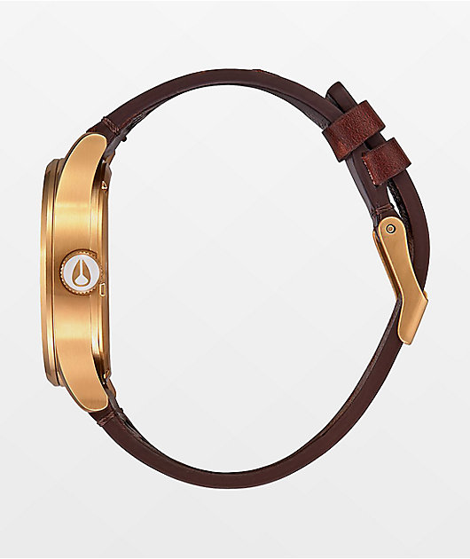 Nixon Sentry Leather Gold, Indigo & Brown Analog Watch