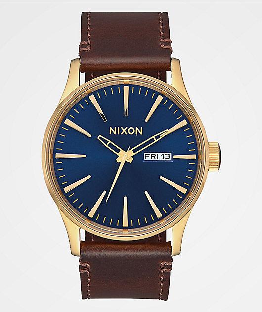 Nixon Sentry Leather Gold & Navy Analog Watch