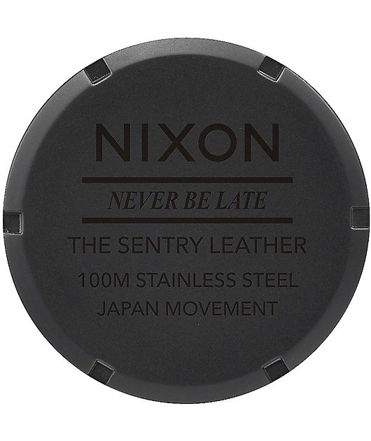 Nixon Sentry Leather Matte Black & Gold Watch