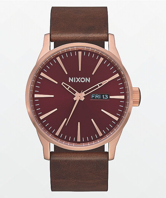 Nixon Sentry Leather Rose Gold, Burgundy & Brown Analog Watch