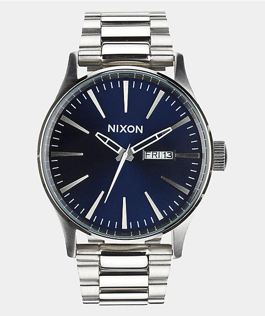 Nixon Sentry SS Blue Sunray Analog Watch