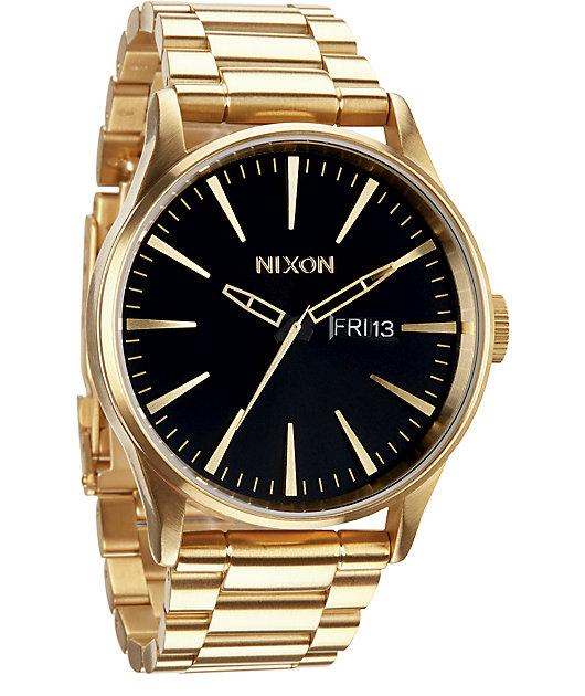 Nixon Sentry SS Gold & Black Analog Watch