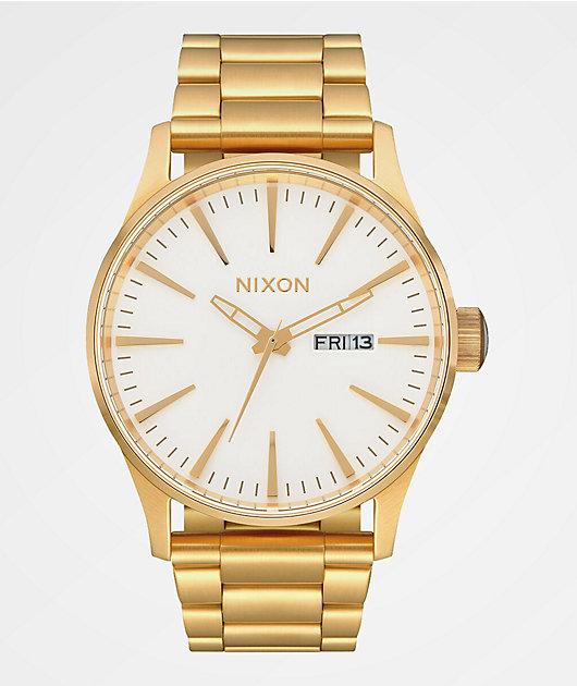 Nixon Sentry SS Gold & White Analog Watch