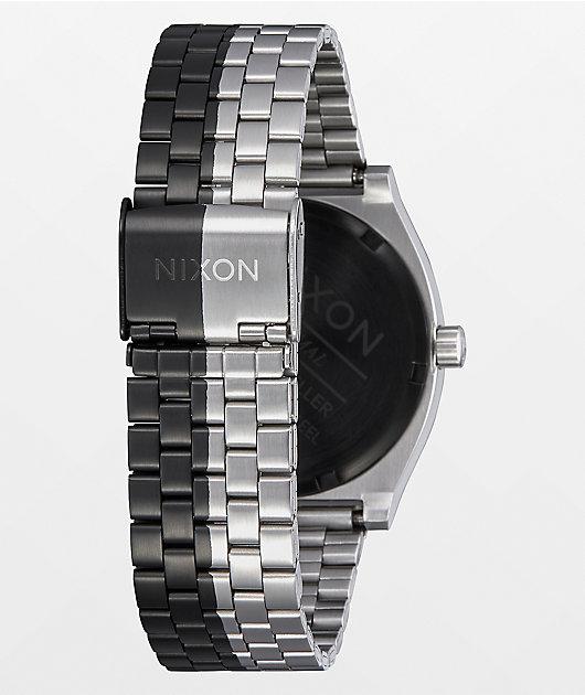 Nixon Time Teller Asymmetrical Black & Silver Analog Watch