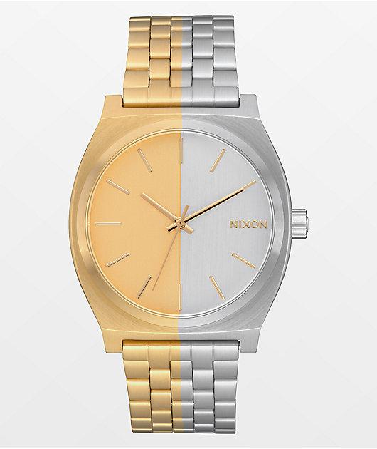Nixon Time Teller Asymmetrical Gold & Silver Analog Watch