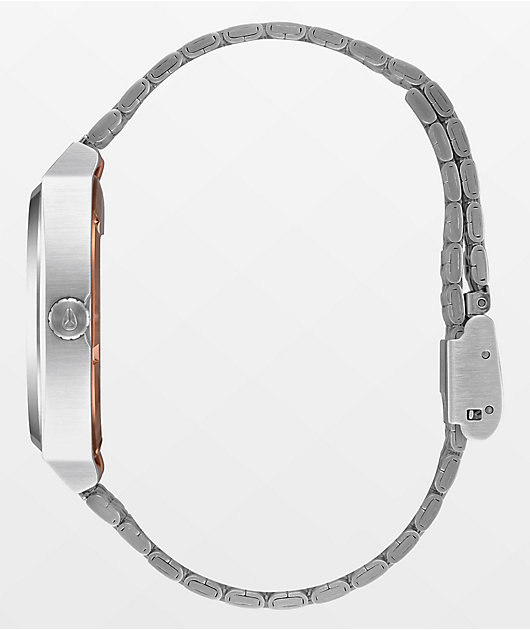 Nixon Time Teller Asymmetrical Rose Gold & Silver Analog Watch