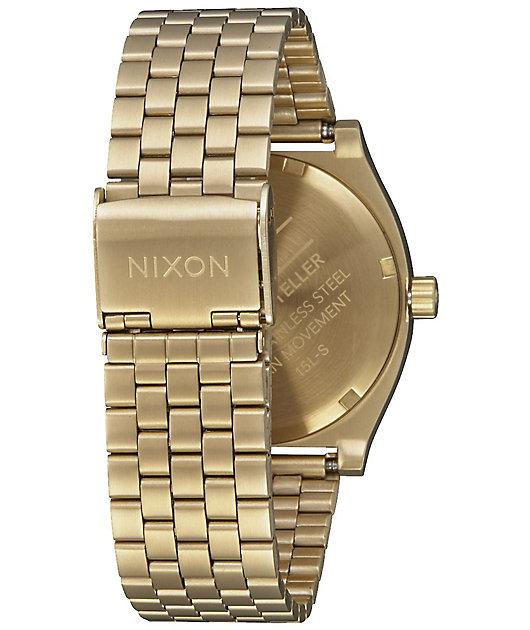 Nixon Time Teller Gold & White Watch