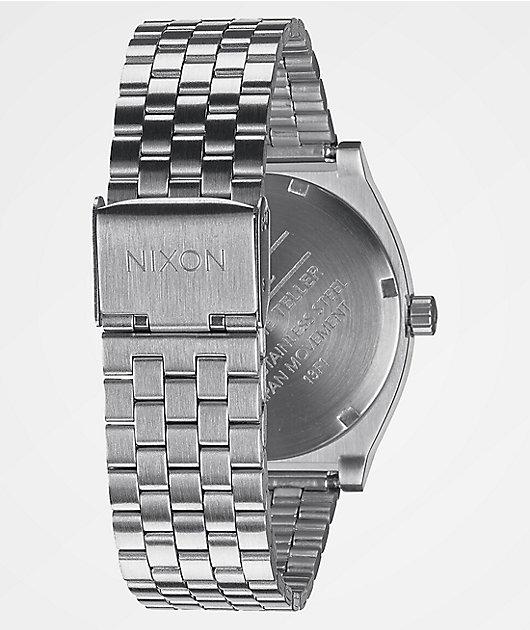 Nixon Time Teller Silver & Blue Sunray Analog Watch