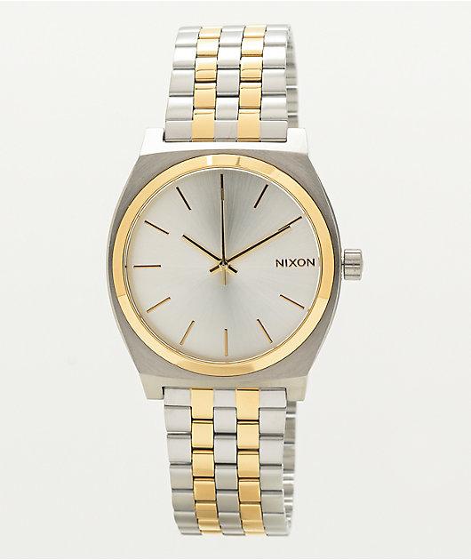 Nixon Time Teller Silver & Gold Analog Watch