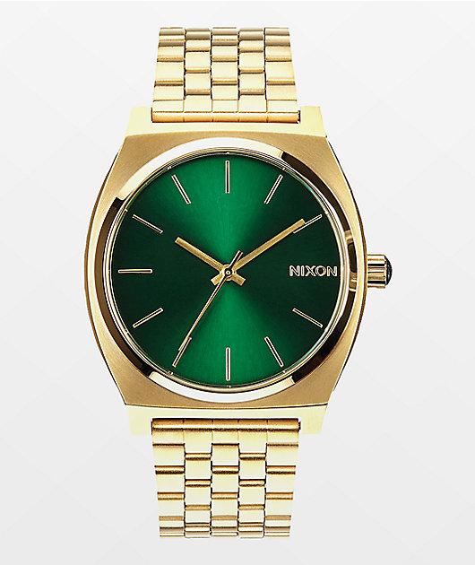 Nixon Time Teller reloj analógico en verde y color oro