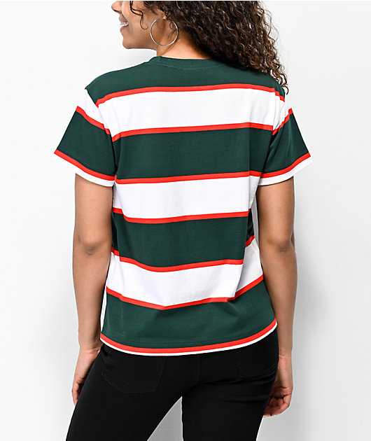 Obey Acid Box Green & Red Strip T-Shirt