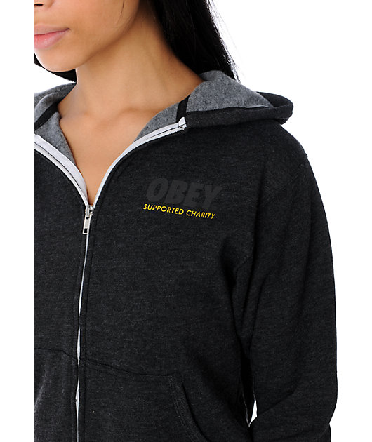 Obey Adopt Heather Charcoal Hoodie