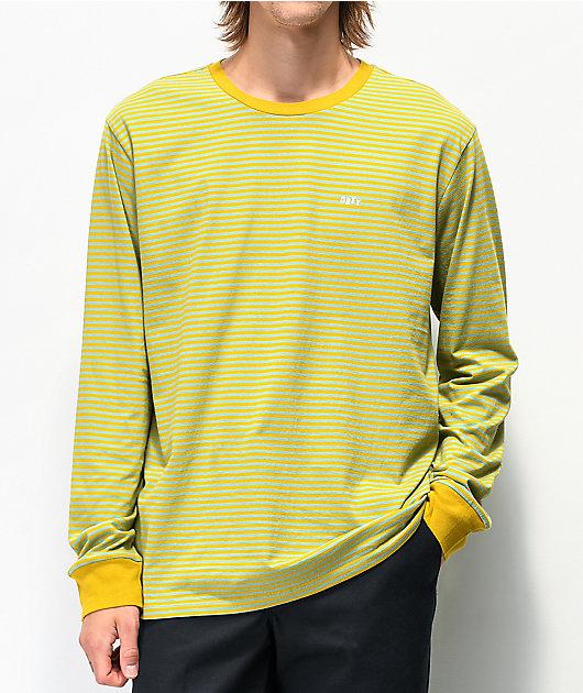 Obey Apex Stripe Gold & Blue Long Sleeve T-Shirt