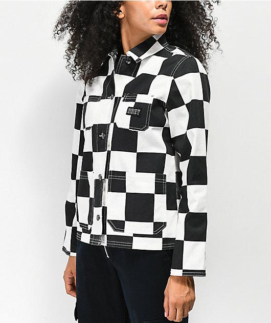 Obey Bishop Checker Black & White Denim Jacket