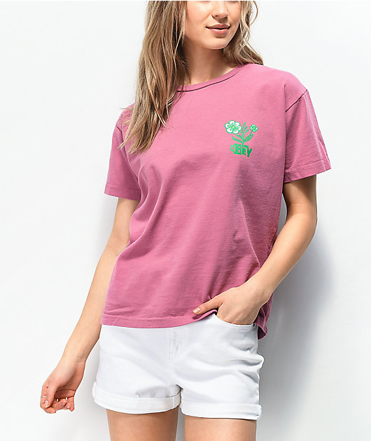 Obey Bloom Box Pink T-Shirt