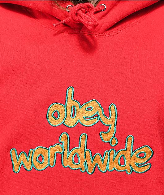 Obey Brigade Red Hoodie