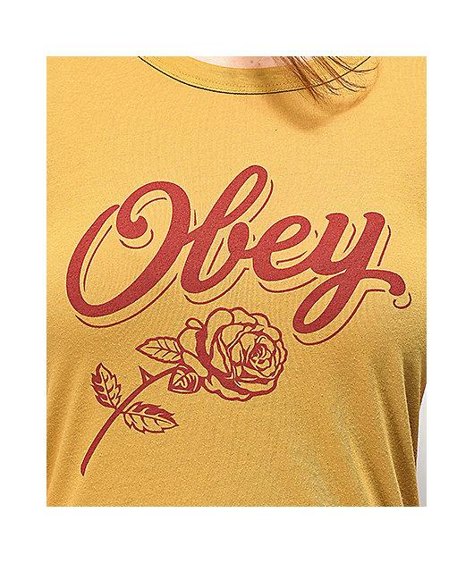 Obey Careless Whispers Mustard Ringer T-Shirt