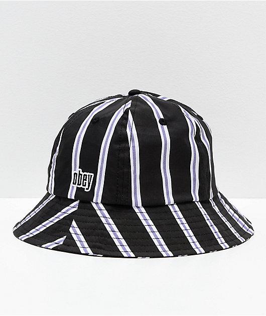 Obey Carmal Striped Black, White & Lavender Bucket Hat