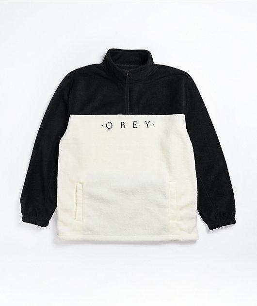 Obey Channel White & Black Tech Fleece Sweatshirt