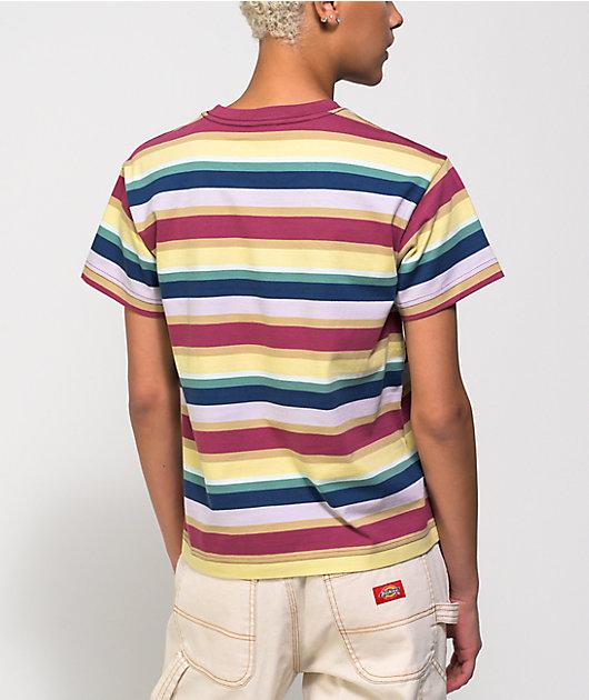 Obey Charlie Box Fuchsia & Multi Stripe T-Shirt