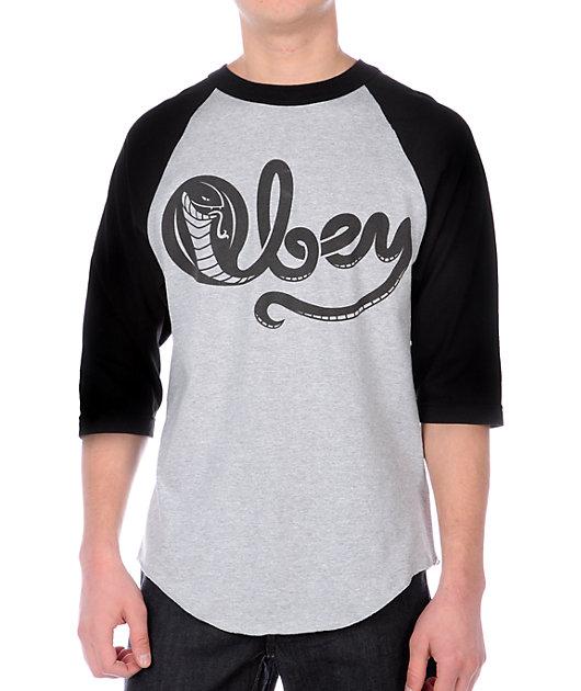 Obey Cobra Posse Grey Baseball T-Shirt