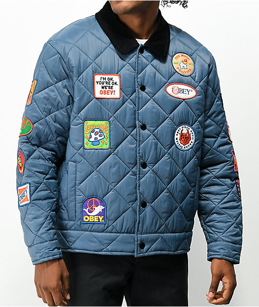 Obey Collectors Vintage Navy Quilted Coaches Jacket
