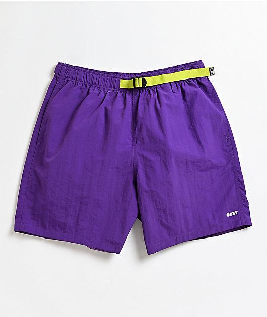 Obey Easy Trek Purple Elastic Waist Shorts