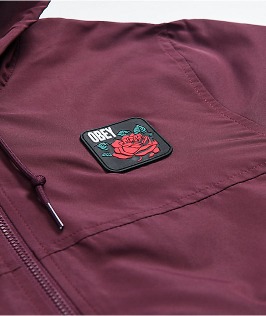 Obey Echo Burgundy Windbreaker Jacket