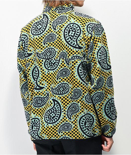 Obey Eisley Gold & Green Mock Neck Fleece Sweatshirt
