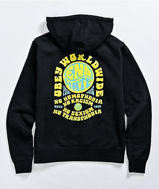 Obey End Hate Black Hoodie