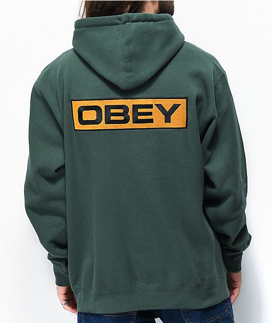 Obey Enigma sudadera con capucha verde oscuro