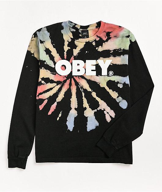 Obey Firecracker Black Tie Dye Long Sleeve T-Shirt