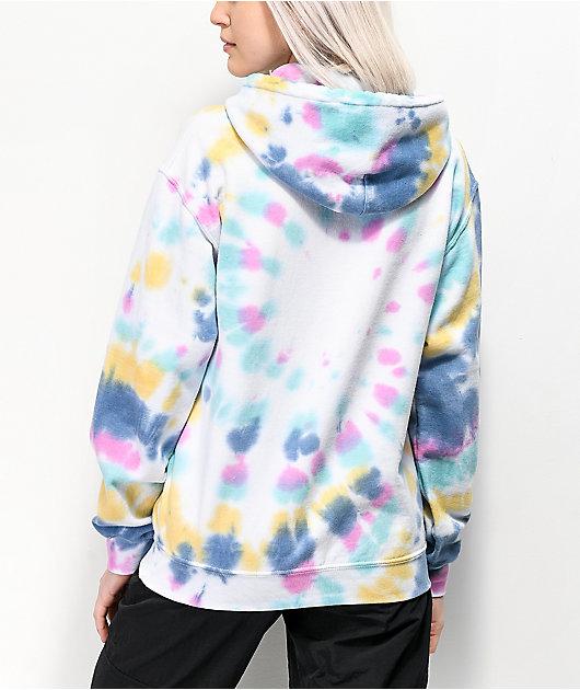 Obey Flower Serif Rainbow Tie Dye Hoodie