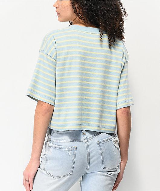 Obey Gazer camiseta corta azul, verde y rosa de rayas