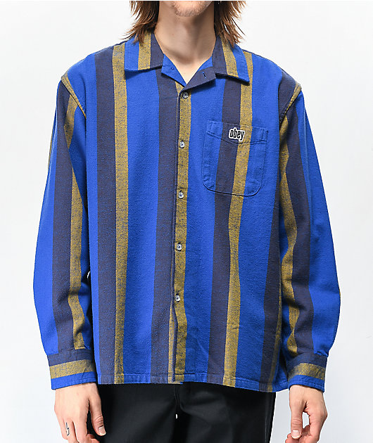 Obey Glider Blue Long Sleeve Flannel Shirt