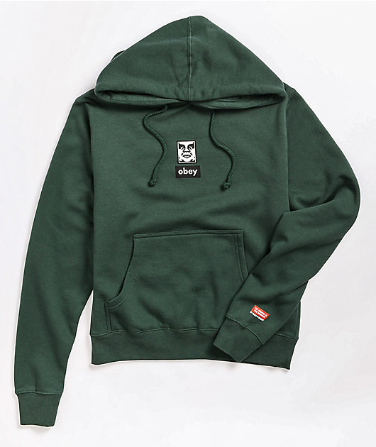 Obey Icon Face Green Hoodie