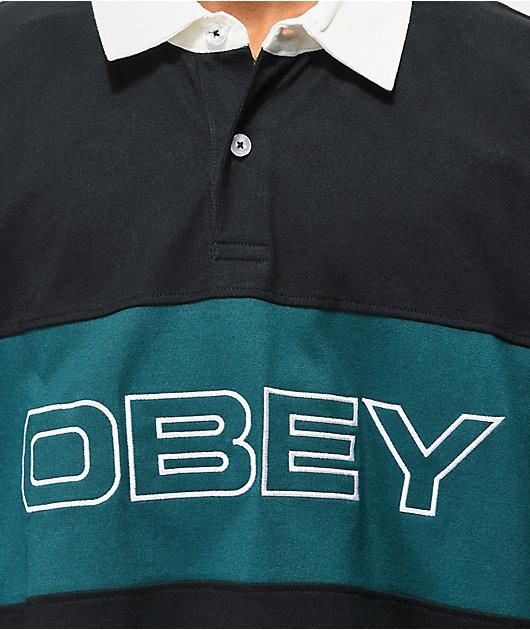 Obey Ignite Black Long Sleeve Polo Shirt