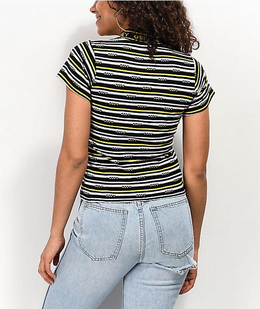 Obey Jules Black, White & Yellow Striped Mock Neck T-Shirt